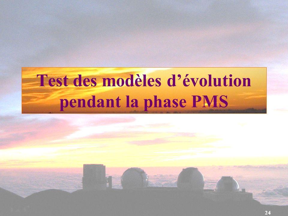 Test des modèles d'évolution pendant la phase PMS