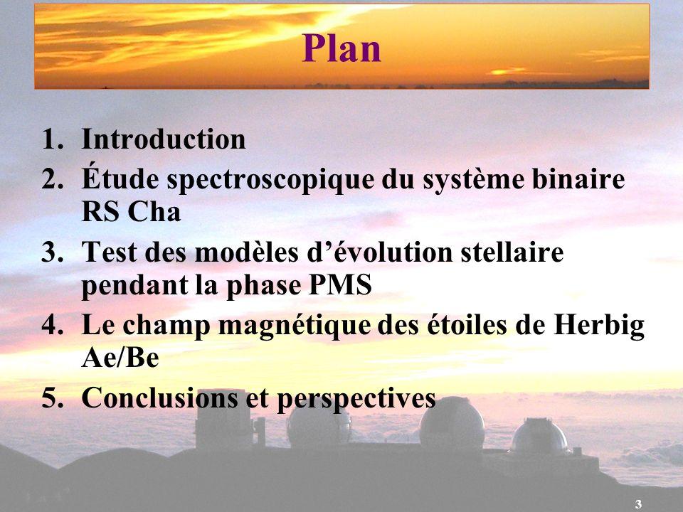 Plan Introduction Étude spectroscopique du système binaire RS Cha