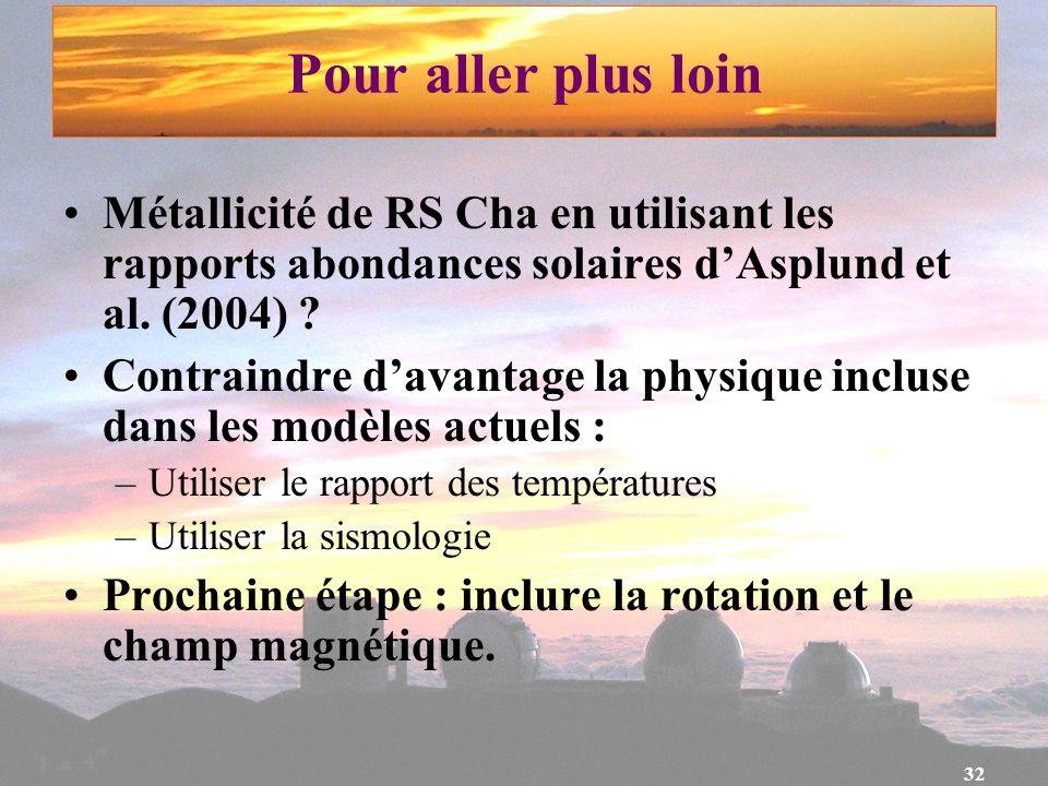 Pour aller plus loin Métallicité de RS Cha en utilisant les rapports abondances solaires d'Asplund et al. (2004)