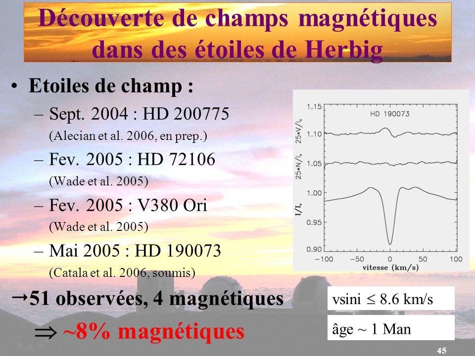 Découverte de champs magnétiques dans des étoiles de Herbig