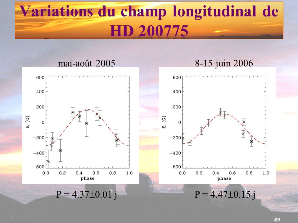 Variations du champ longitudinal de HD 200775