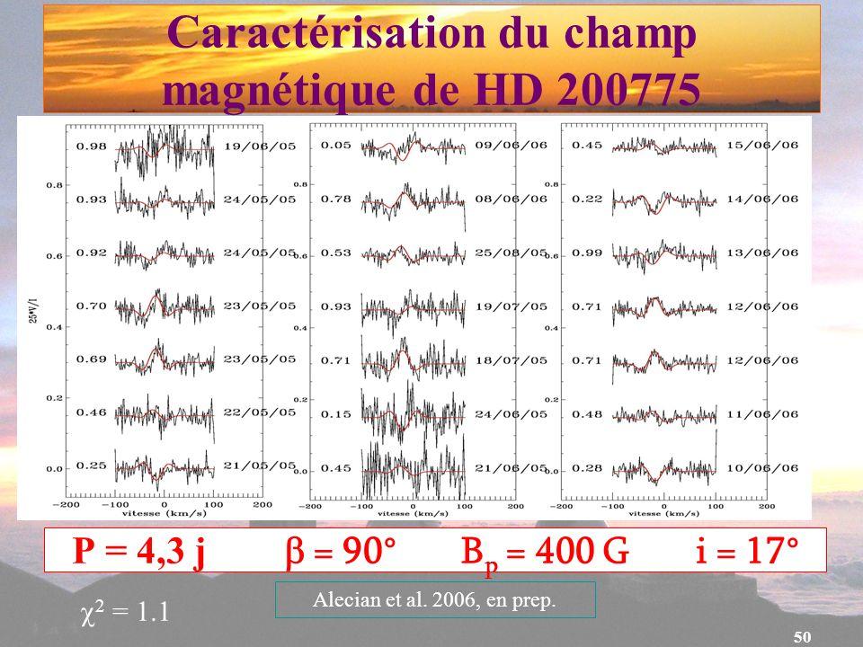 Caractérisation du champ magnétique de HD 200775