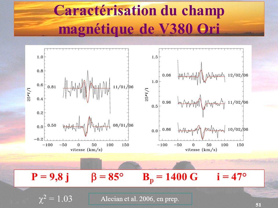 Caractérisation du champ magnétique de V380 Ori