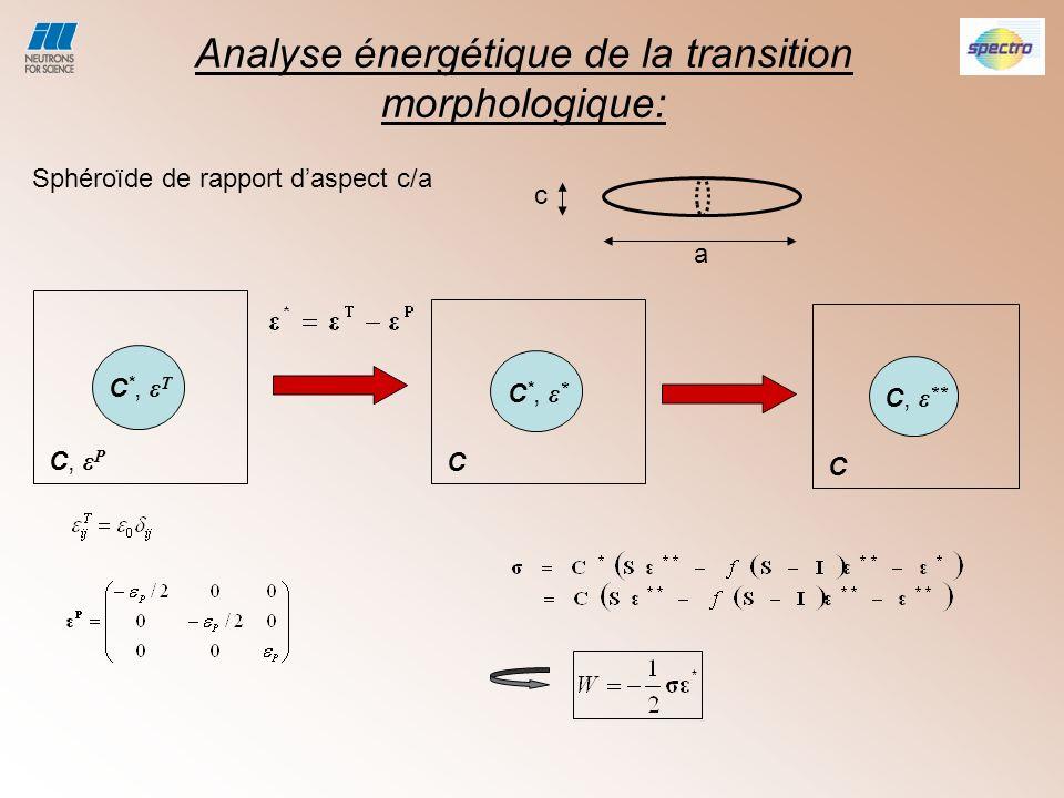 Analyse énergétique de la transition morphologique: