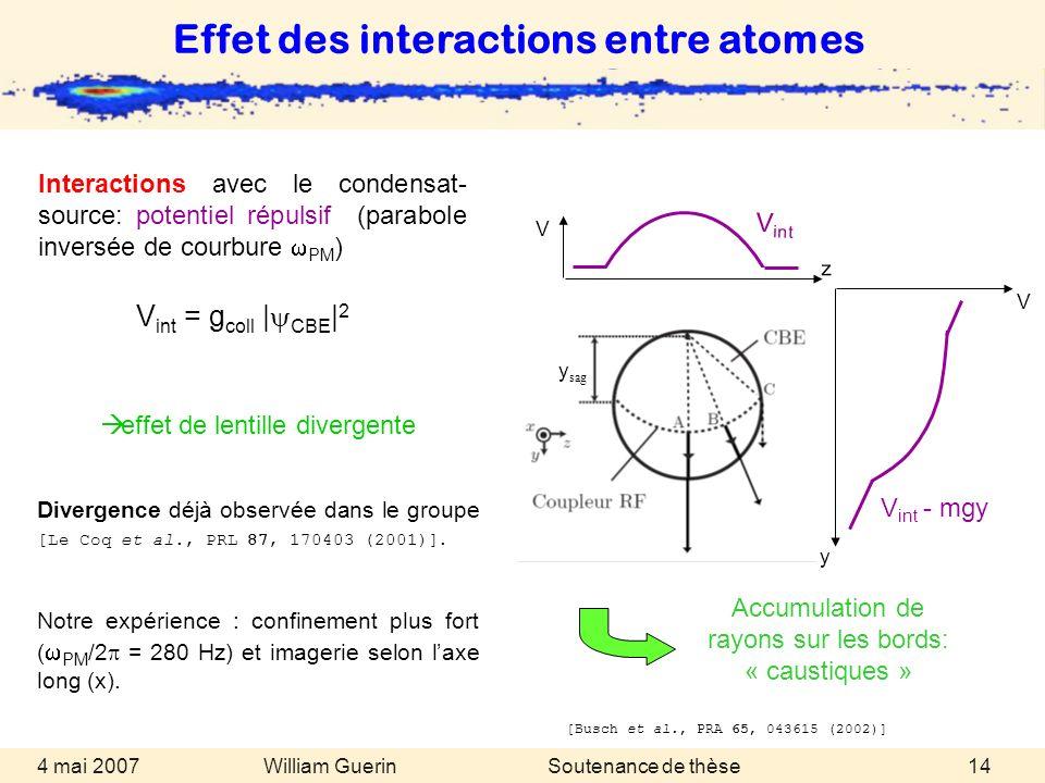 Effet des interactions entre atomes