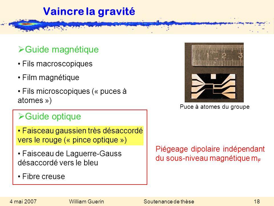 Vaincre la gravité Guide magnétique Guide optique Fils macroscopiques