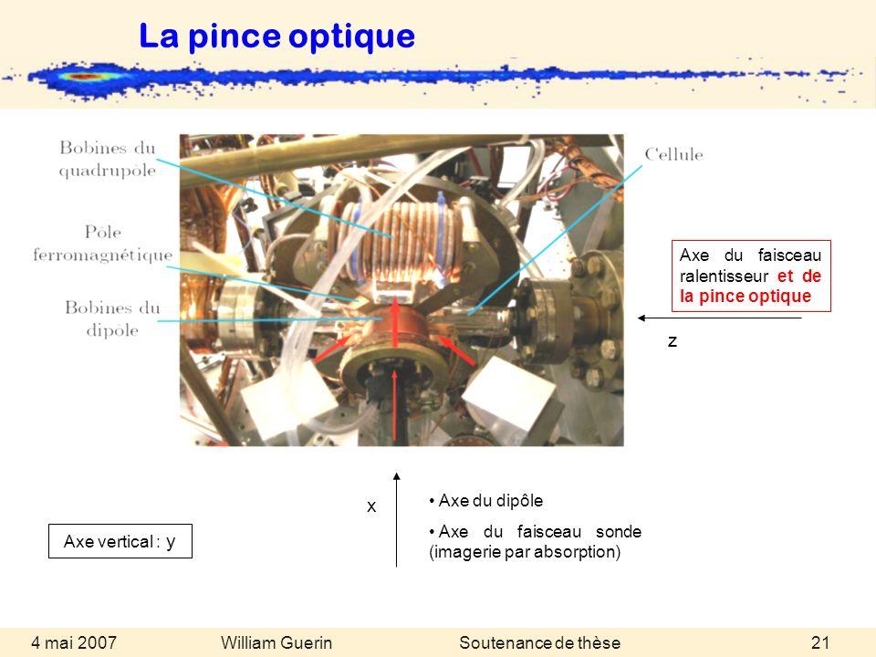 La pince optique Axe du faisceau ralentisseur et de la pince optique. z. x. Axe du dipôle. Axe du faisceau sonde (imagerie par absorption)