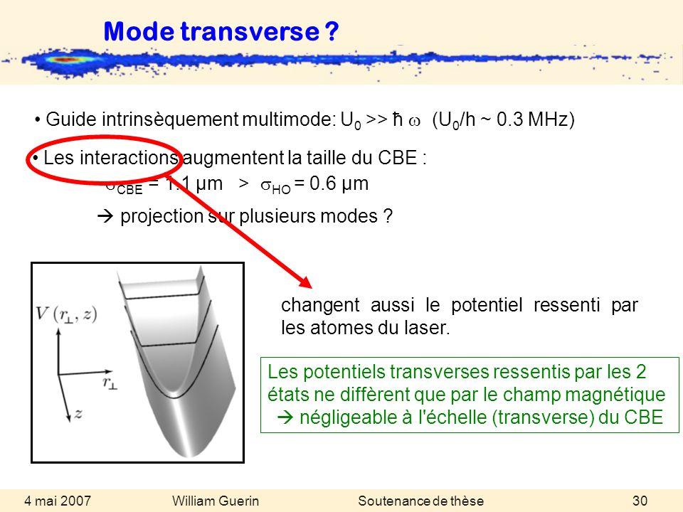 Mode transverse Guide intrinsèquement multimode: U0 >> ħ w (U0/h ~ 0.3 MHz) changent aussi le potentiel ressenti par les atomes du laser.