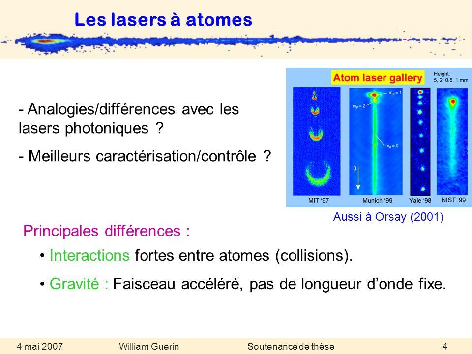 Les lasers à atomes Aussi à Orsay (2001) - Analogies/différences avec les lasers photoniques Meilleurs caractérisation/contrôle