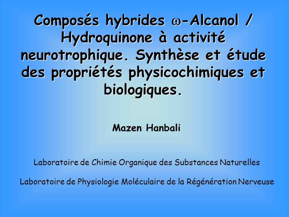Composés hybrides w-Alcanol / Hydroquinone à activité neurotrophique