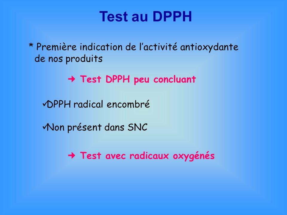 Test au DPPH * Première indication de l'activité antioxydante