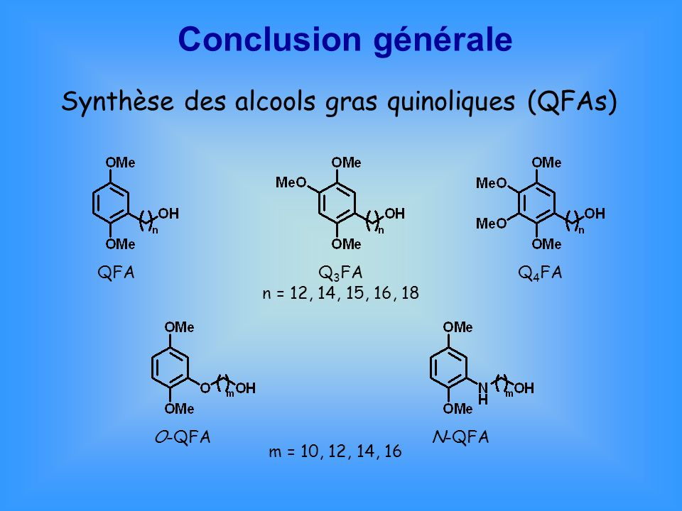 Conclusion générale Synthèse des alcools gras quinoliques (QFAs) QFA