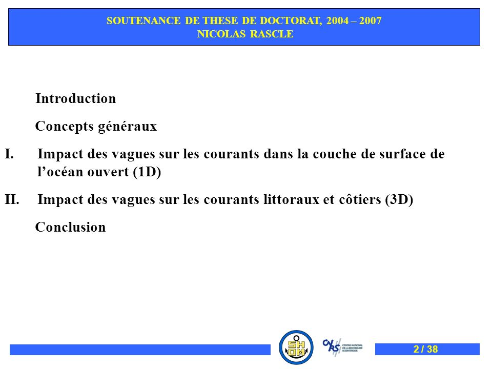SOUTENANCE DE THESE DE DOCTORAT, 2004 – 2007