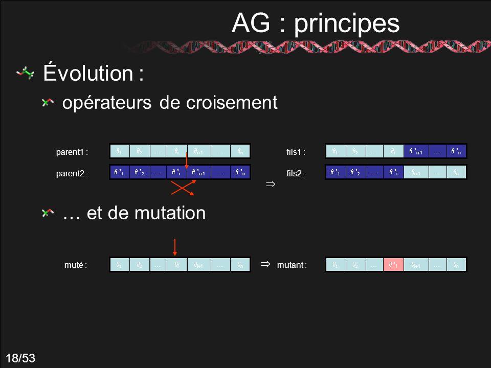 AG : principes Évolution : opérateurs de croisement … et de mutation 