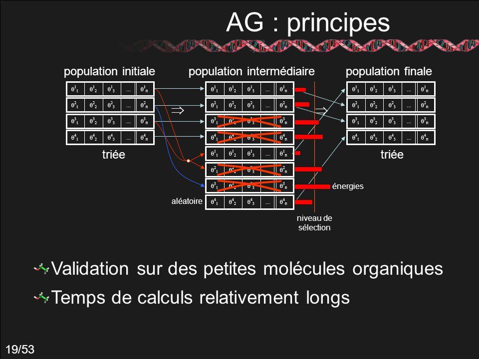 AG : principes Validation sur des petites molécules organiques