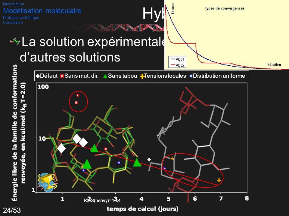 Introduction Modélisation moléculaire. Biologie systémique. Conclusion. Hybridations.
