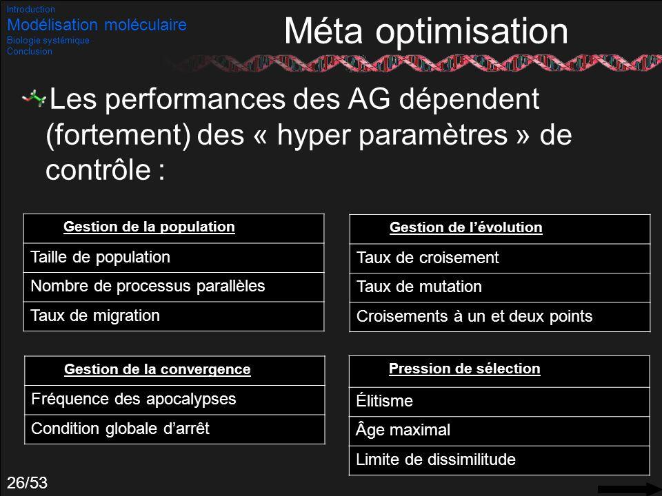 Introduction Modélisation moléculaire. Biologie systémique. Conclusion. Méta optimisation.