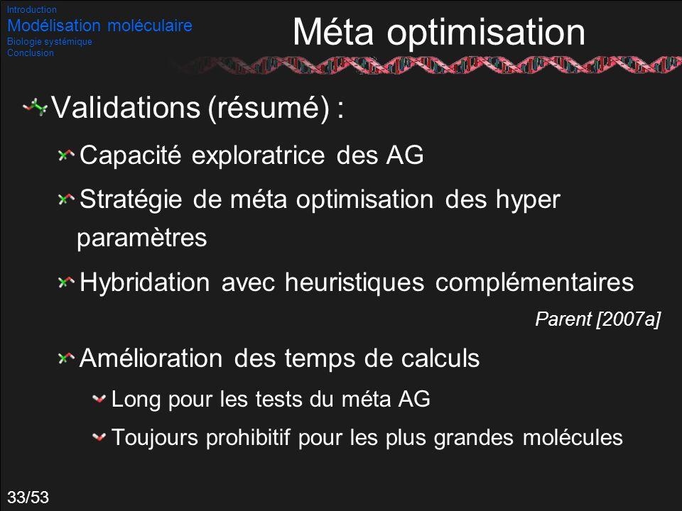 Méta optimisation Validations (résumé) : Capacité exploratrice des AG