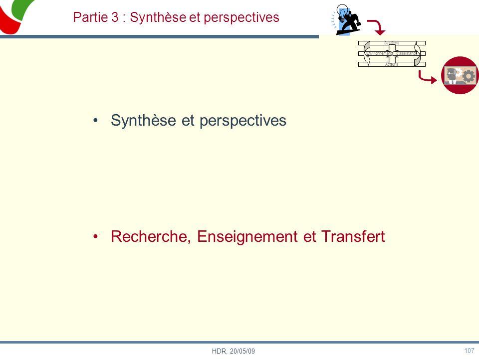Partie 3 : Synthèse et perspectives
