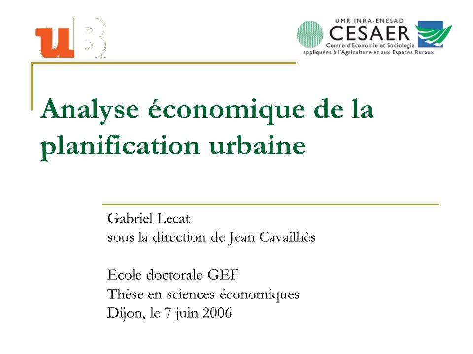 Analyse économique de la planification urbaine