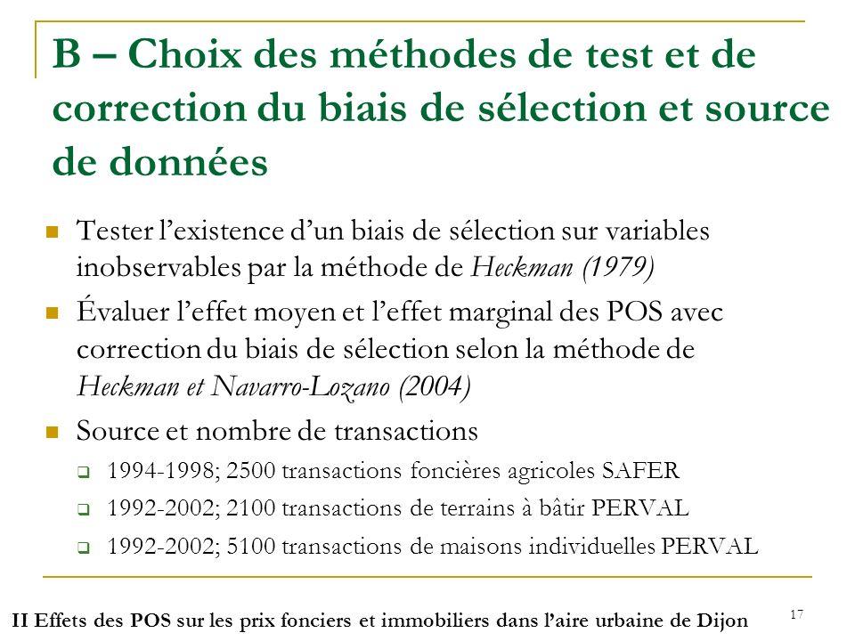 B – Choix des méthodes de test et de correction du biais de sélection et source de données