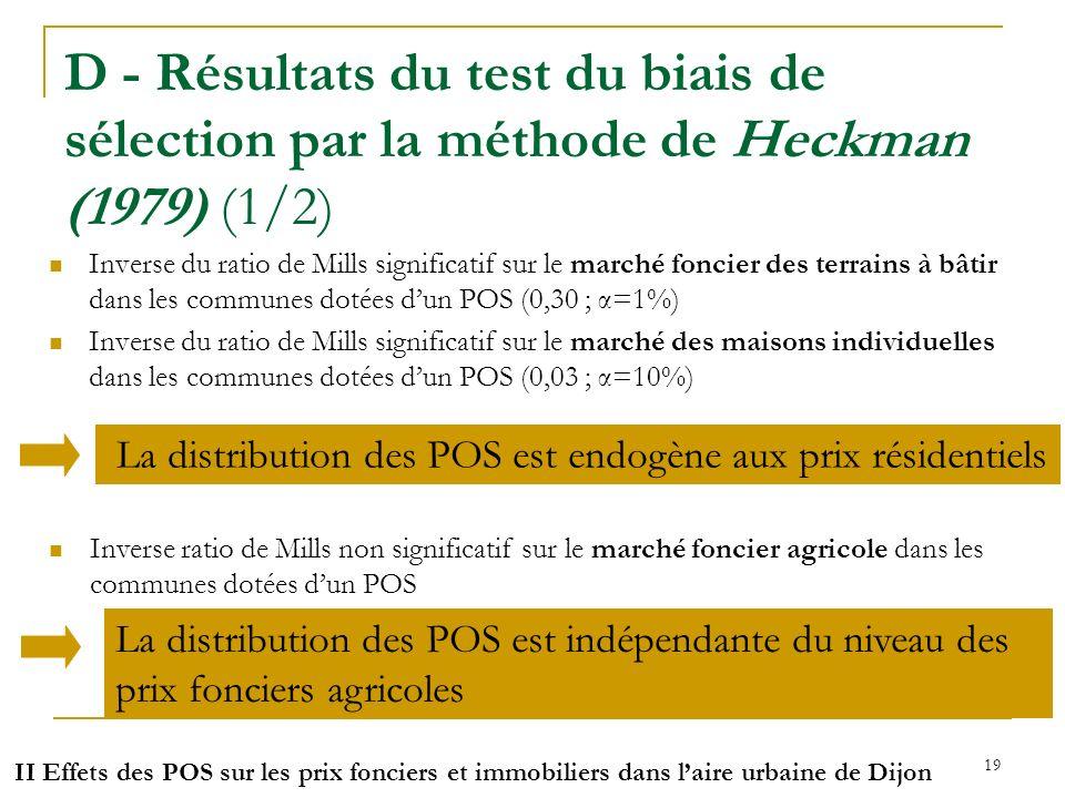 D - Résultats du test du biais de sélection par la méthode de Heckman (1979) (1/2)