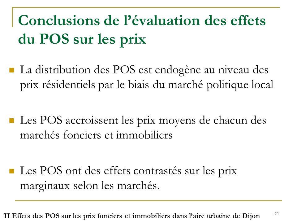 Conclusions de l'évaluation des effets du POS sur les prix