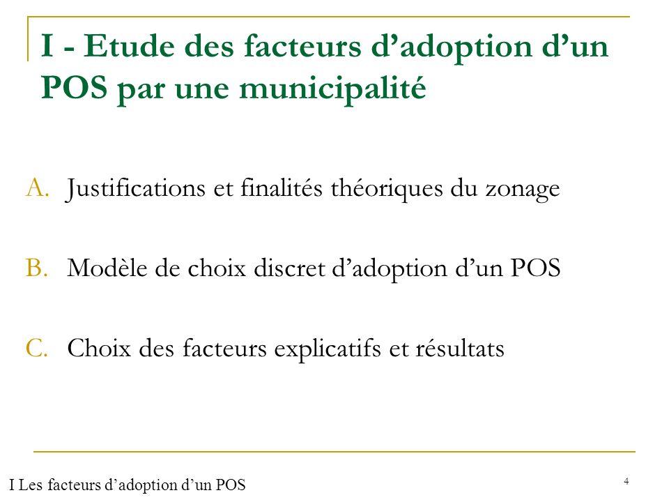 I - Etude des facteurs d'adoption d'un POS par une municipalité