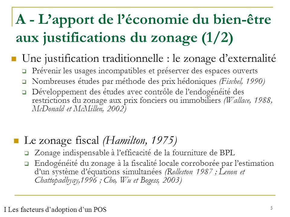 A - L'apport de l'économie du bien-être aux justifications du zonage (1/2)