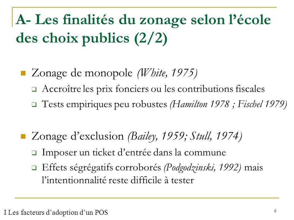 A- Les finalités du zonage selon l'école des choix publics (2/2)