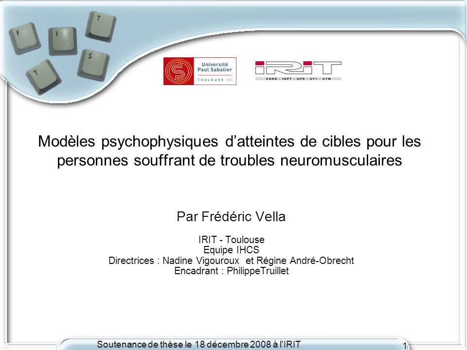 Modèles psychophysiques d'atteintes de cibles pour les personnes souffrant de troubles neuromusculaires