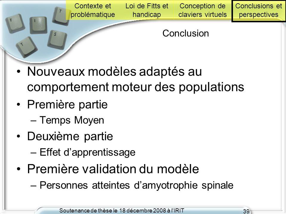 Nouveaux modèles adaptés au comportement moteur des populations