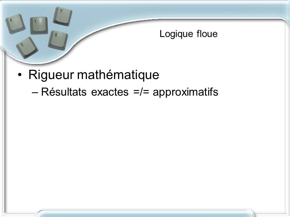 Logique floue Rigueur mathématique Résultats exactes =/= approximatifs