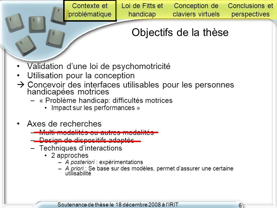 Objectifs de la thèse Validation d'une loi de psychomotricité
