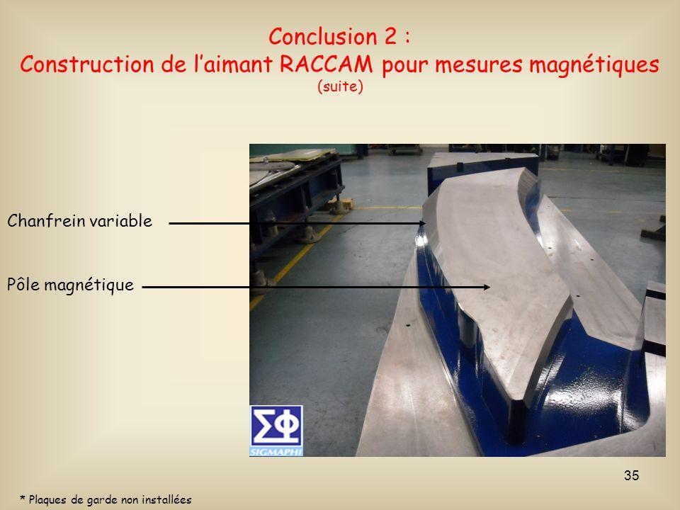 Conclusion 2 : Construction de l'aimant RACCAM pour mesures magnétiques (suite)