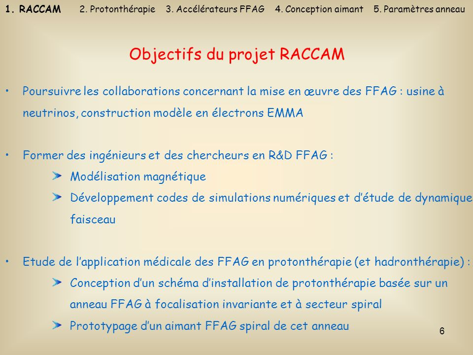 Objectifs du projet RACCAM