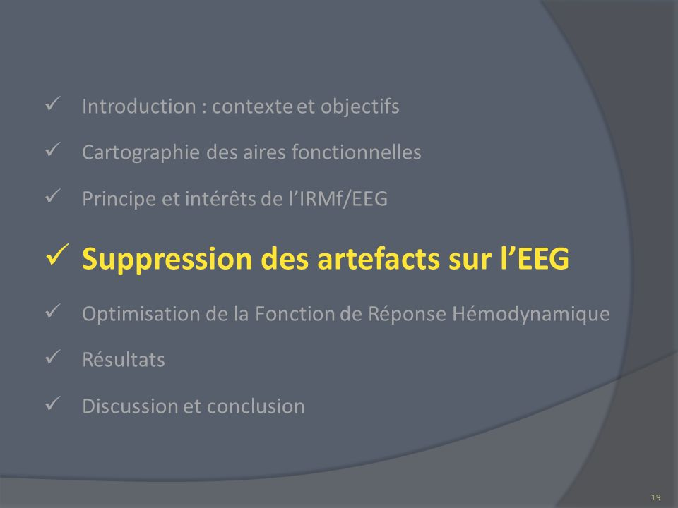 Suppression des artefacts sur l'EEG
