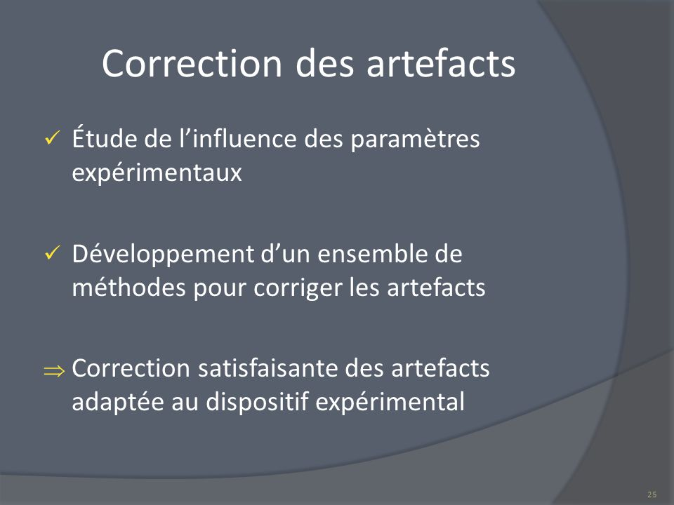 Correction des artefacts