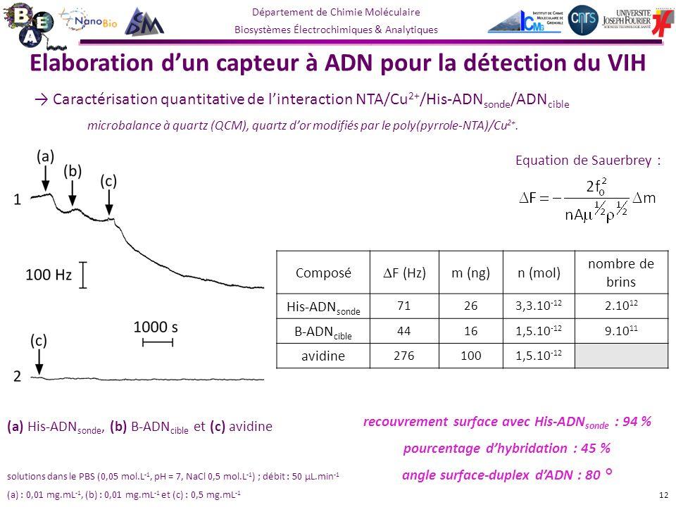 Elaboration d'un capteur à ADN pour la détection du VIH