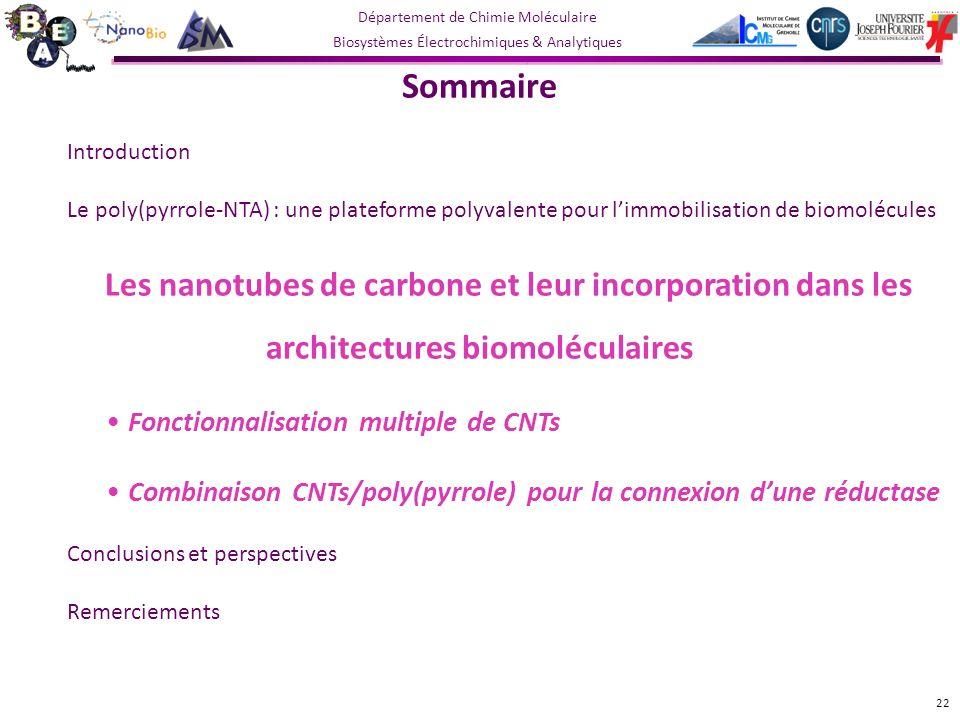 Sommaire Fonctionnalisation multiple de CNTs