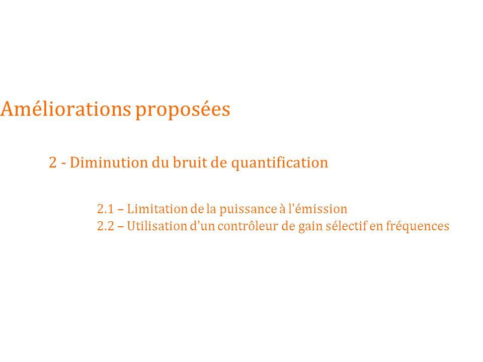 Améliorations proposées. 2 - Diminution du bruit de quantification. 2
