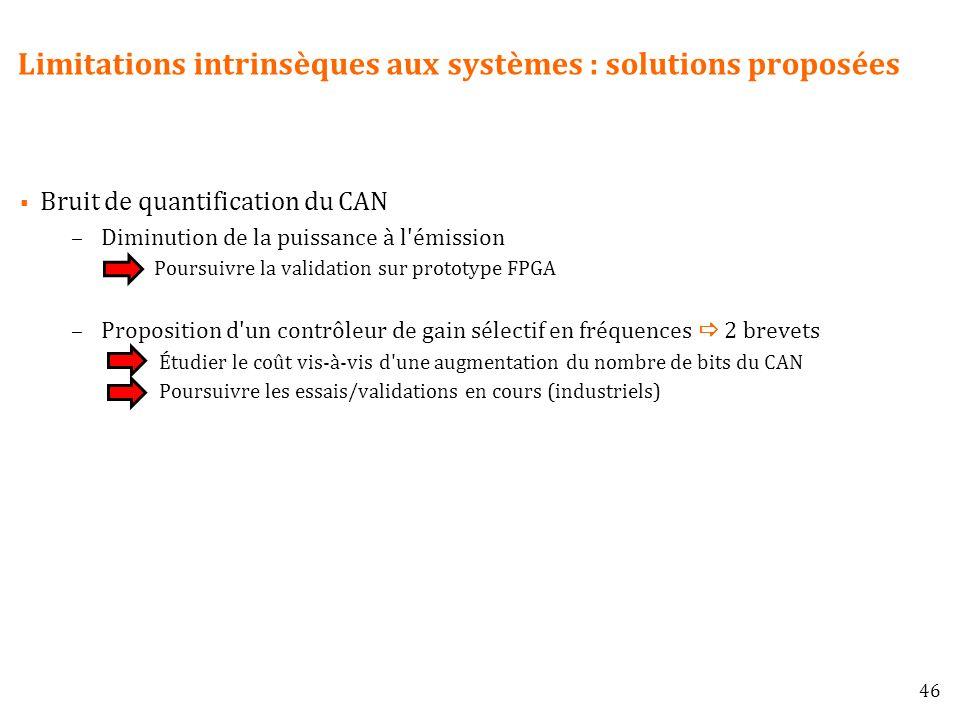 Limitations intrinsèques aux systèmes : solutions proposées