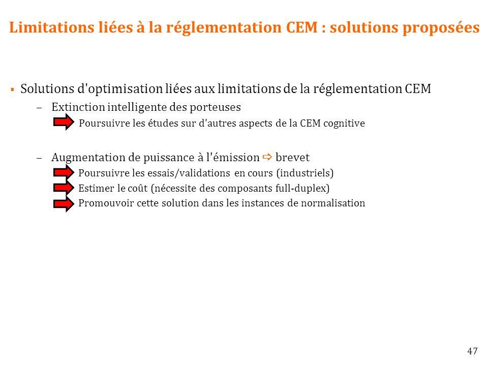 Limitations liées à la réglementation CEM : solutions proposées