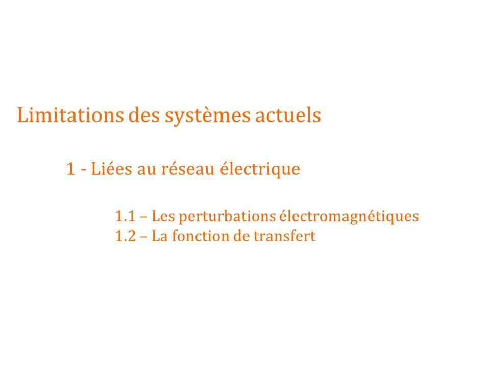 Limitations des systèmes actuels. 1 - Liées au réseau électrique. 1