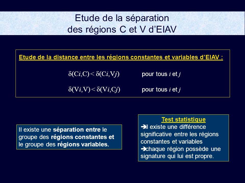 Etude de la séparation des régions C et V d'EIAV