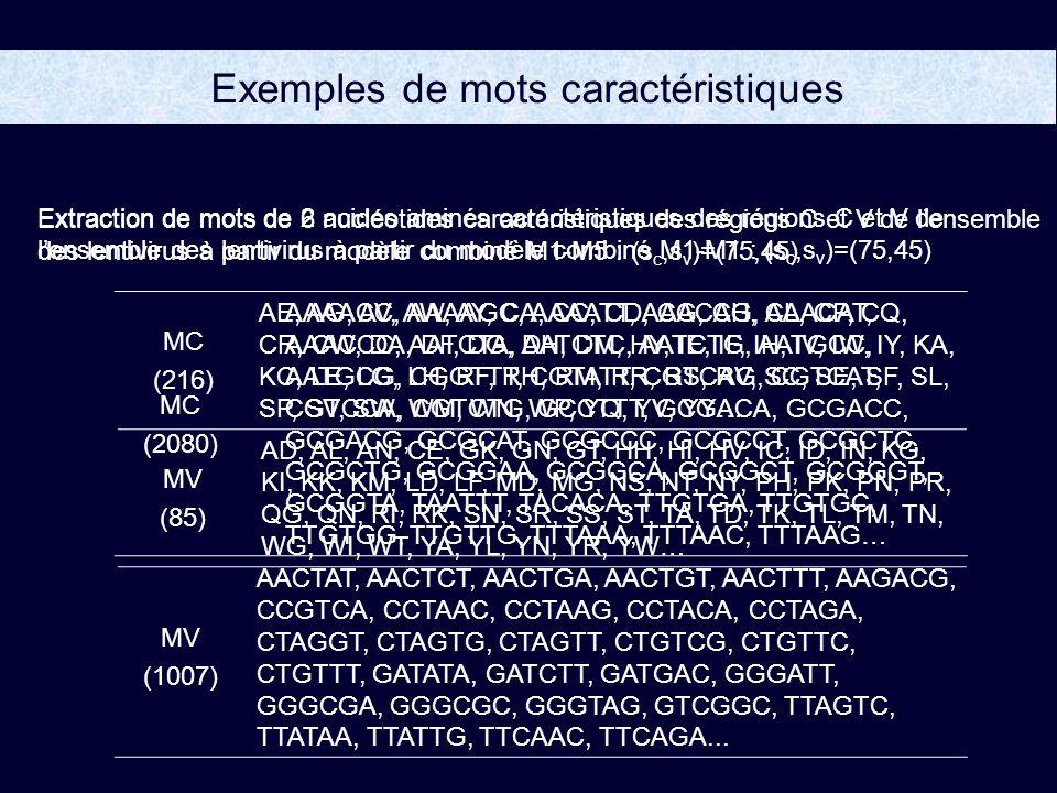 Exemples de mots caractéristiques