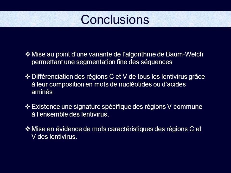 Conclusions Mise au point d'une variante de l'algorithme de Baum-Welch permettant une segmentation fine des séquences.