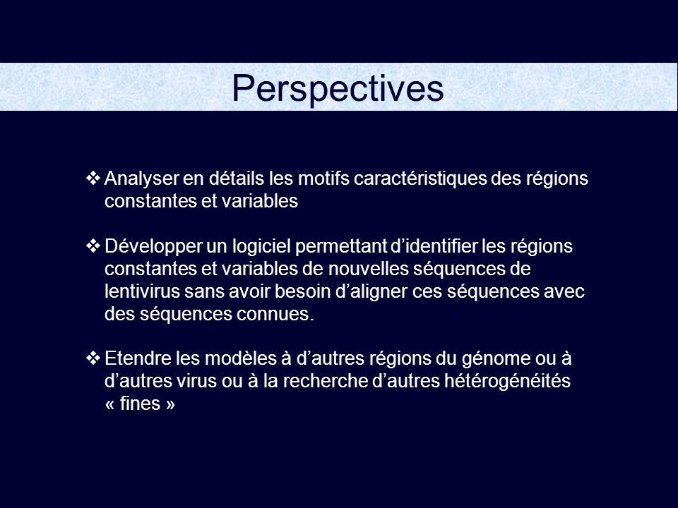Perspectives Analyser en détails les motifs caractéristiques des régions constantes et variables.