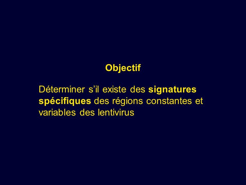 Objectif Déterminer s'il existe des signatures spécifiques des régions constantes et variables des lentivirus.