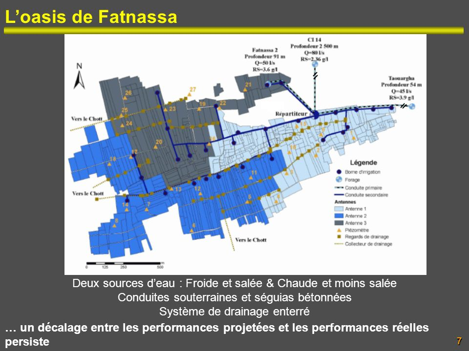 L'oasis de Fatnassa Deux sources d'eau : Froide et salée & Chaude et moins salée. Conduites souterraines et séguias bétonnées.